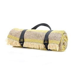 Crosshatch Stripe Recycled picnic rug, L120 x W150cm, lime and silver grey