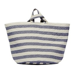 Fastnet Stripe Storage basket, 70 x 40cm, navy