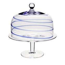 Studio - Bella Blue Cake stand and dome, 32cm, blue