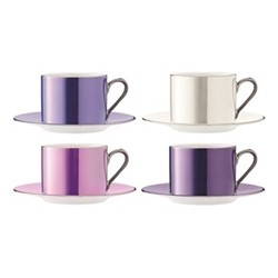Polka Set of 4 teacups and saucers, 250ml, assorted pastels