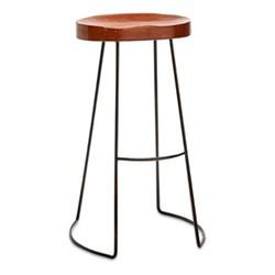 Loko Tall leather stool, H75.5 x L38.5 x W28cm