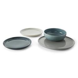 Deja 12 piece dinner set, tonal grey/blue