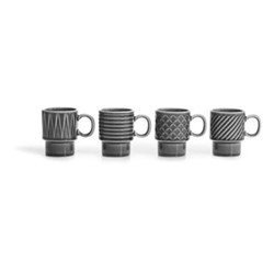 Coffee & More Set of 4 espresso cups, 100ml, grey