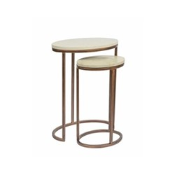 Oval Nesting Table Small side table, W30 x D23 x H48cm, bronze antique/green marble