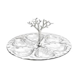 Tree Of Life Seder plate, H15 x W28 x L30cm, silver