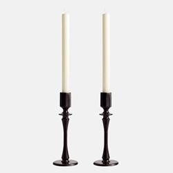 Hansen Set of two small candleholders, H20 x W7cm, Black