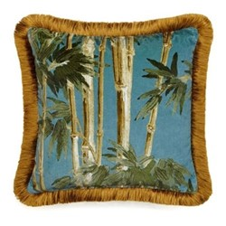 Bambusa Fringed velvet cushion, L45 x W45cm, azure