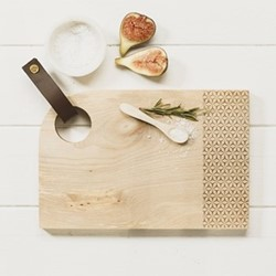 Geo Print Small curved sycamore serving board with leather tab, L30 x W20 x H2cm, sycamore