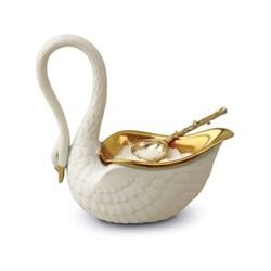 Swan Salt cellar and spoon, 9 x 9cm, white