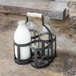 Milk bottle holder, H23.5 x D17.7 x W17.3cm, carbon