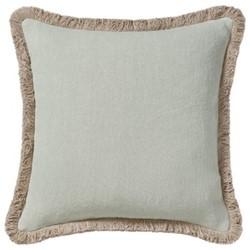 Cushion cover with fringing, L51 x W51cm, eau de nil stonewashed linen