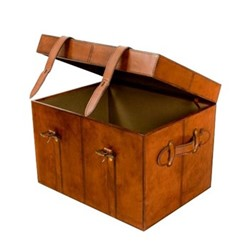 Leather Medium trunk, 51 x 39 x 39cm, conker