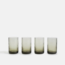 Meynell Set of four ribbed highball glasses, Grey
