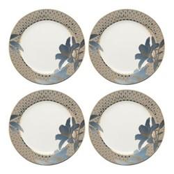 Blue Lily Set of 4 salad plates, Dia20.3cm, 22 carat gold / blue