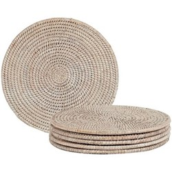 Ashcroft Set of 6 round placemats, D29cm, rattan