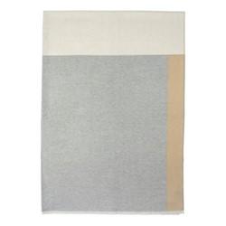 Colour Patchwork Merino throw, 190 x 140cm, grey/camel/denim