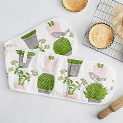 Cactus & Bird Double Oven Glove, 20 x 84cm