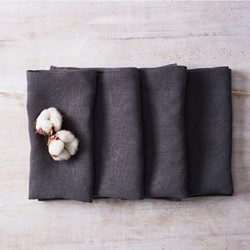 Alma Set of 4 linen napkins, 42 x 42cm, dark grey
