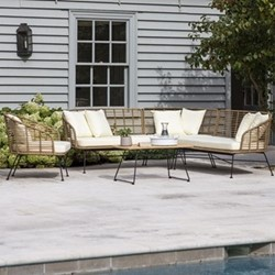 Hampstead Corner sofa, H78 x W204.5 x D204.5cm, bamboo & black