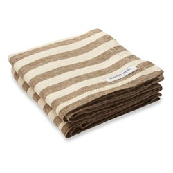 Stripe Linen beach towel, brown and off white
