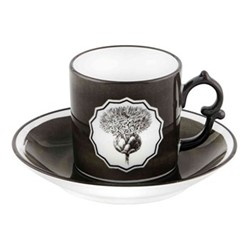 Herbariae Coffee cup and saucer, 12 x 6cm, black