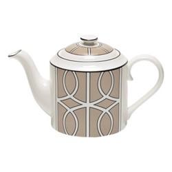 Loop Teapot, H13cm, truffle/white