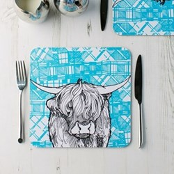Highland Cow Pair of tablemats, 23 x 23cm