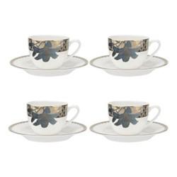Blue Lily Set of 4 teacup & saucers, 220ml, 22 carat gold / blue