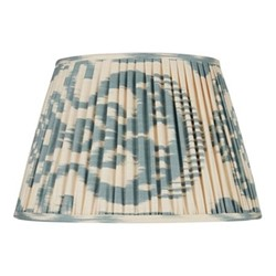 Ikat Silk lampshade, H15 x Dia20cm, Blue/Cream