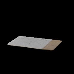 Bwari Long marble board, 35.5 x 22cm, white marble & mango wood