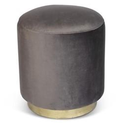 Small footstool, H45 x D40cm, dark grey velvet with brass base