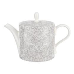 Pure Morris - Strawberry Thief Teapot, 1.1 litre, grey/white