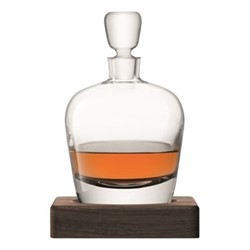 Whisky Arran decanter with walnut base, 1 litre, clear
