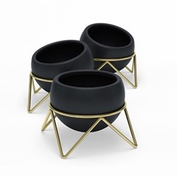 Potsy 3 pack planter, H10.5cm, black/brass
