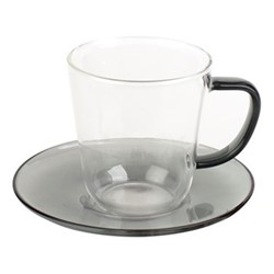 Colour Teacup and saucer, 300ml, smoke grey