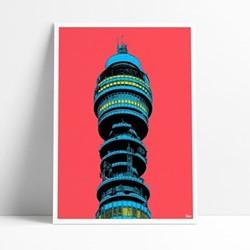 BT Tower Framed print, L29 x H42cm, multi