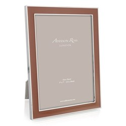 "Enamel Range Photograph frame, 4 x 6"" with 15mm border, terracotta with silver plate"