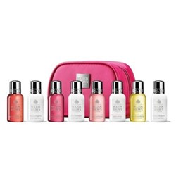 Explore Luxury - Bath & Body Collection 8 piece ladies travel size toiletries kit, pink bag