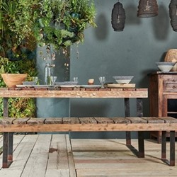 Oso Wooden bench, 46.5 x 180 x 38.5cm, reclaimed wood & iron