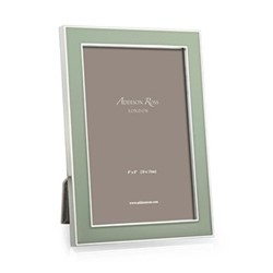 "Enamel Photograph frame, 5 x 7"" with 15mm border, sage with silver plate"