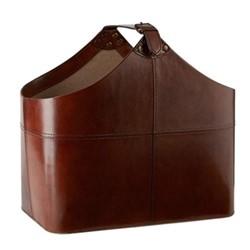 Buckled basket, H39 x W30 x D25cm, tan leather