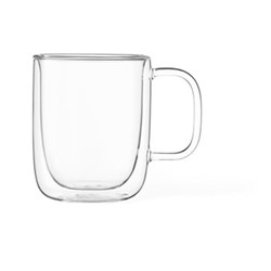 Classic Pair of double walled mugs, 40cl, clear