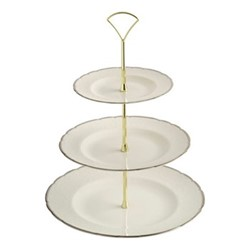 Darley Abbey Pure Gold 3 tier cake stand, white/gold