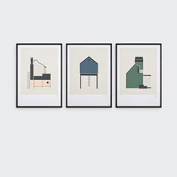Tin Sheds Set of 3 prints, H42 x W30cm, Multi