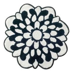 Otil Bath mat, Dia80cm, black/white