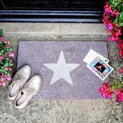 Glitter Star Doormat, 60 x 40cm, natural/grey