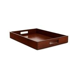 Rectangular tray, L44 x W30 x H6cm, tan leather