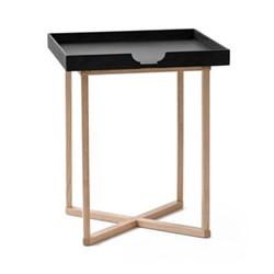 Damien Square table, H45 x W37 x D37cm, black/oak