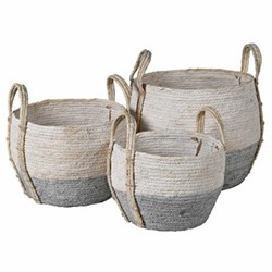 Set of 3 seagrass baskets, H21 x W27 x Dia25cm, white