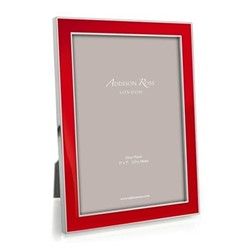 "Enamel Range Photograph frame, 4 x 6"" with 15mm border, red with silver plate"